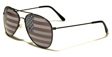 USA Flag Aviator Unisex Wholesale Sunglasses AV1028-USA