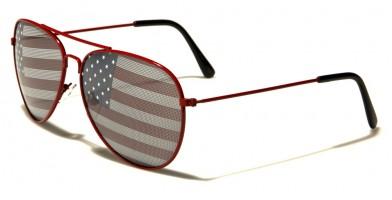 USA Flag Aviator Unisex Bulk Sunglasses AV1366-USA