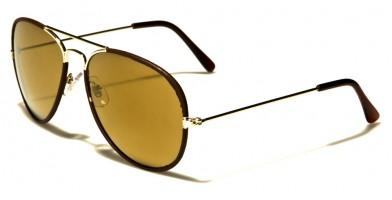 Leather Aviator Unisex Sunglasses Wholesale AV1411-LTHR-CM