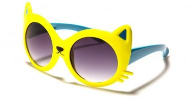 Kids Cat Face Oval Bulk Sunglasses K-811