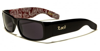 Locs Bandana Pattern Men's Bulk Sunglasses LOC9006-BDNRD
