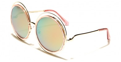 Round Pink Lens Women's Wholesale Sunglasses M10192-PINK