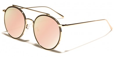 Round Pink Flat Lens Sunglasses Wholesale M10331-FT-PINK