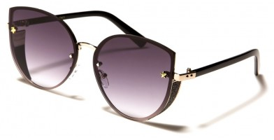 Cat Eye Round Rimless Sunglasses Wholesale M10764