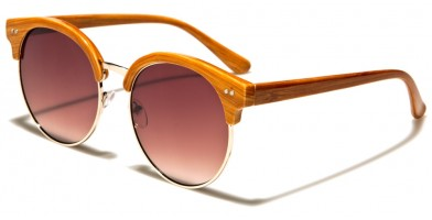 Wood Print Round Unisex Sunglasses In Bulk P30192-FT-OC
