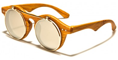 Round Flip-Up Wood-Print Sunglasses Wholesale P30198-WD-FLIP