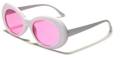 Round Color Lens Women's Sunglasses Bulk P6280-WHITE-CO