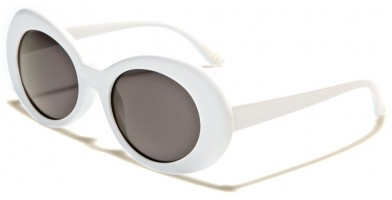 Round Vintage Look Women's  Bulk Sunglasses P6280-WHITE