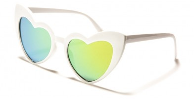 Heart Shaped Mirrored Bulk Sunglasses P6353-HEART-PINK-CM