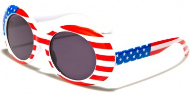 Round USA Flag Women's Bulk Sunglasses P6368-FLAG-SD
