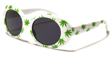 Round Marijuana Leaf Print Sunglasses Wholesale P6368-LF