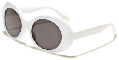 Round Vintage Look Women's Sunglasses  Bulk P6368-WHITE