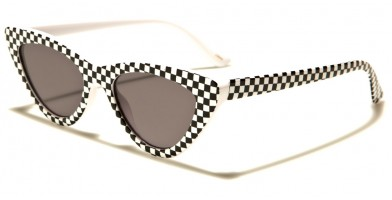 Cat Eye Checkered Sunglasses Wholesale P6456-CHKR