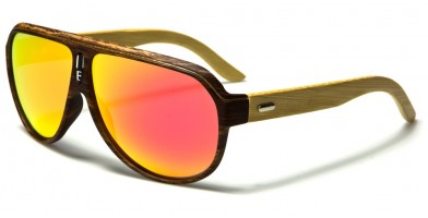 Aviator Bamboo Polarized Sunglasses In Bulk PL-2020-RV