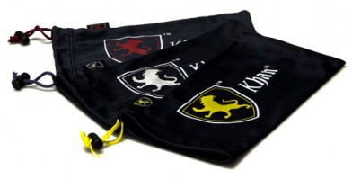 Khan Lion Logo Black Microfiber Pouches Wholesale POUCH-KHAN