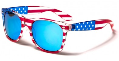Classic USA Flag Mirrored Wholesale Sunglasses W-7110-FLAG-ICE-BLUE