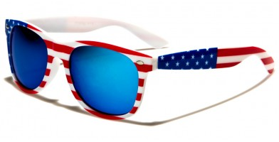 Classic USA Flag Unisex Sunglasses In Bulk W-7110-FLAG-WHT
