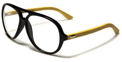 Aviator Wood Unisex Wholesale Glasses WD-2009-CLR