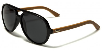 Aviator Wood Polarized Sunglasses Wholesale WD-2009-POL