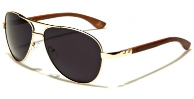 Aviator Wood Unisex Sunglasses Wholesale WD-2031M