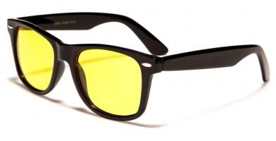 Classic Yellow Lens Unisex Sunglasses in Bulk WF01-BKND